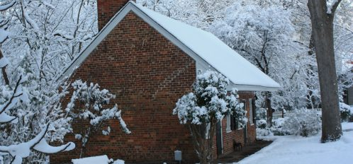 An exterior view of the the old kitchen house, Bloomsbury Inn...the snow is beautiful.