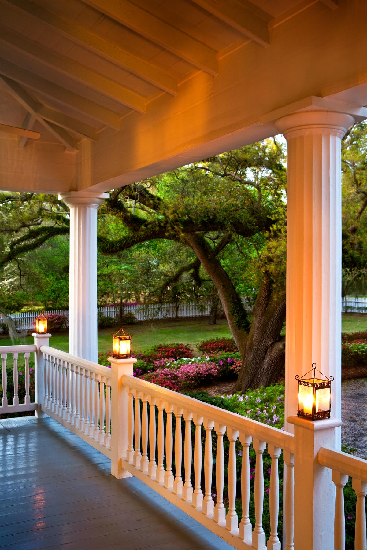 A sunset photo of the Bloomsbury porch highlights the beauty of the rain porch.