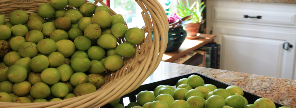 Beautiful baskets of lemon figs waiting to be processed in to jam.