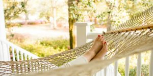 Total relaxation at Bloomsbury Inn means rocking away your stresses in the hammock.