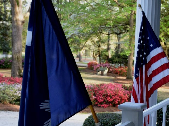 Bloomsbury Inn flys both the American flag and the South Carolina flag from the front porch.