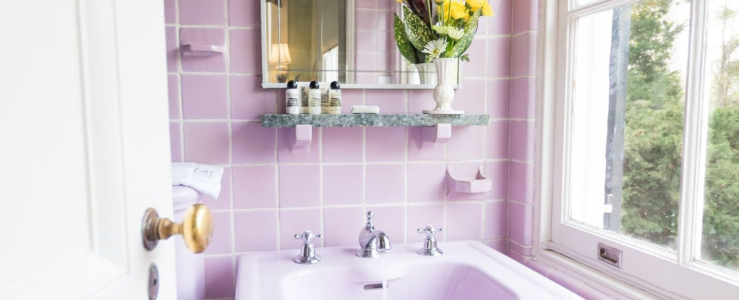 Lavender Italian Tile is the highlight of the Sally Chesnut room at Bloomsbury.