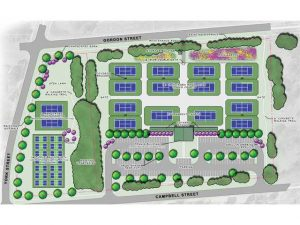 Artist rendering/map of the Camden Tennis/Pickleball Complex