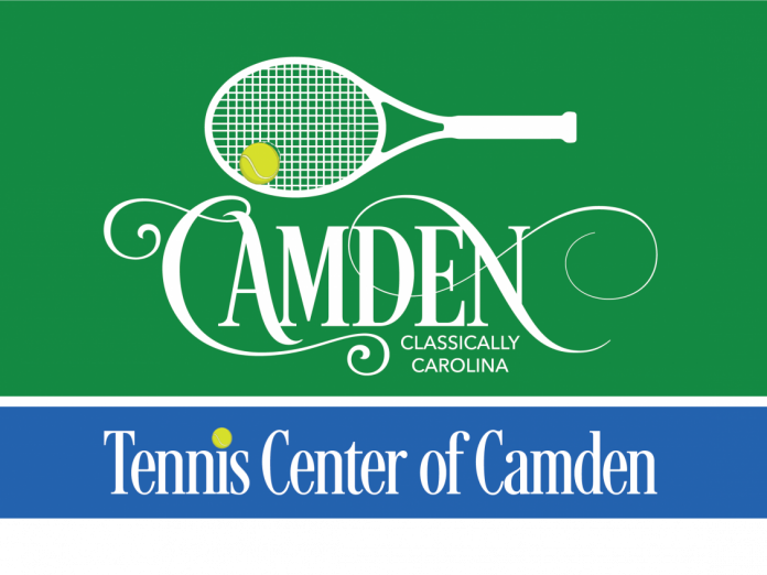 A green and blue sign announcing the Camden Tennis Center, Junior Team Tennis