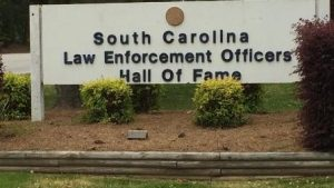 Welcome sign for the SC Law Enforcement Hal of Fame