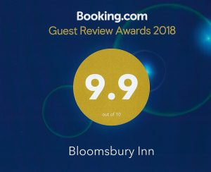 A blue Booking.com certificate rating Bloomsbury Inn 9.9 of 10.