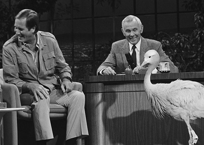 Johnny Carson and Jim Fowler on the Tonight Show stage