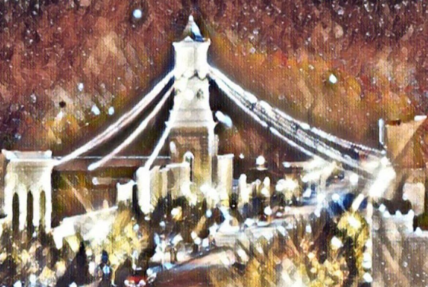 Artwork for Candlelight Tour of Homes, artist view of the clock tower.