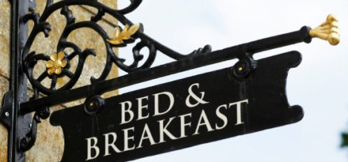 Bed and Breakfast sign, black and white