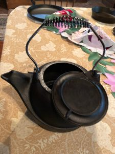 Newly restored cast iron kettle