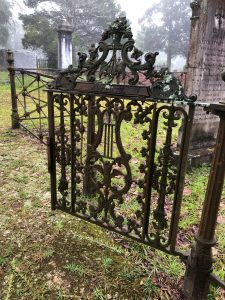 Iron Gate opening into a specific grave plot site at Quaker Cemetery
