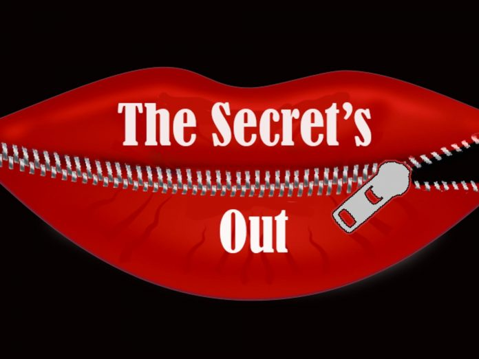 "zippered red lips read ""The Secret's Out"""