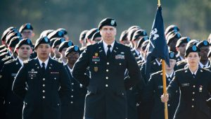 Graduates of Ft Jackson marching off the field.