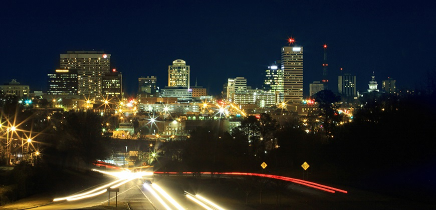 AN evening skyline view of Columbia SC.